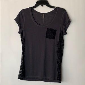 4/$20 Vanity Gray T-Shirt Black Lace Details